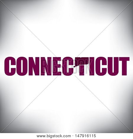 The Connecticut shape is within the Connecticut name in this state graphic