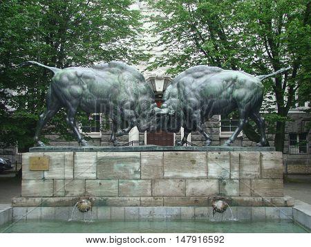 Bronze skulptura- bulls are locked horns and fight