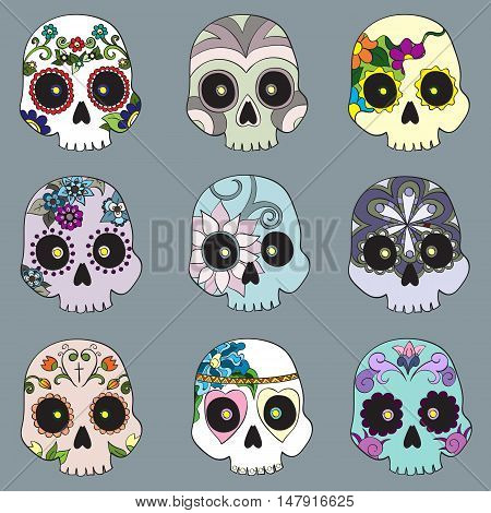 Set with mexican skulls for Day of the Dead (Dia de los Muertos) celebration vector illustration