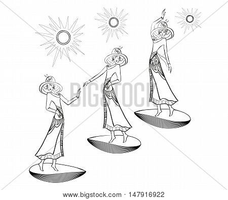 Silhouettes of three women.Three women in different poses, with different gestures. The three stars above them. Vector illustration.