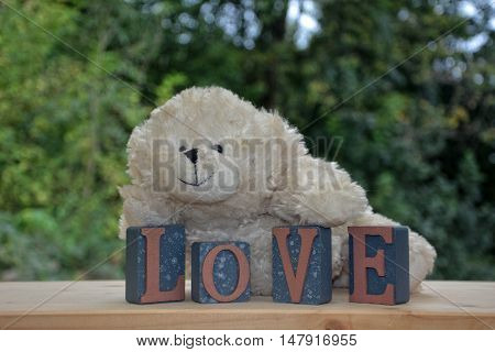 White teddy bear with Love stones against green nature background