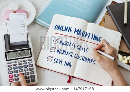Online Marketing Aims Plan Strategy Concept