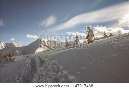 Beautiful winter landscape of the Tatra Mountains