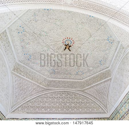 TUNIS TUNISIA - SEPTEMBER 2 2015: The rich decor of carved ganch in Virgil Room of Bardo National Museum on September 2 in Tunis.