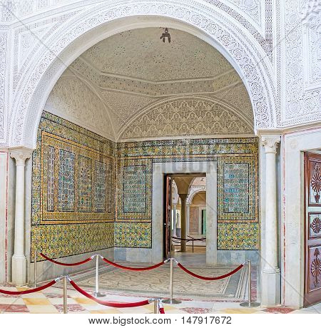 TUNIS TUNISIA - SEPTEMBER 2 2015: The interior of former harem of Hafsid Palace nowadays it's the Virgil Room of Bardo National Museum richly decorated in arabic traditions on September 2 in Tunis.