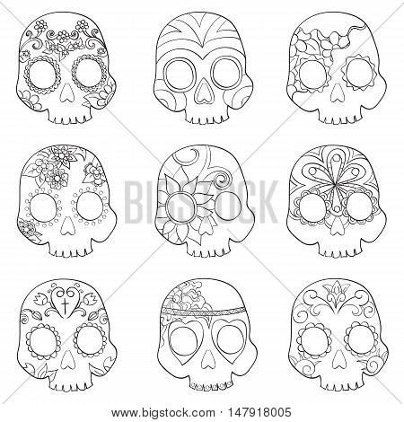 Set with mexican skulls for Day of the Dead (Dia de los Muertos) celebration vector illustration