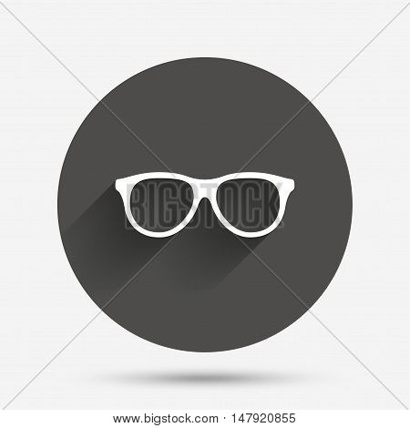 Retro glasses sign icon. Eyeglass frame symbol. Circle flat button with shadow. Vector