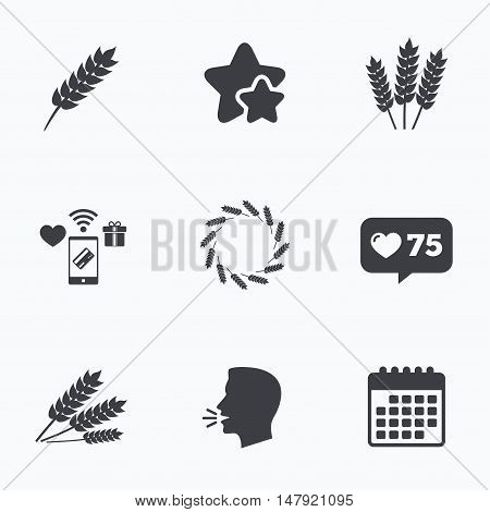 Agricultural icons. Gluten free or No gluten signs. Wreath of Wheat corn symbol. Flat talking head, calendar icons. Stars, like counter icons. Vector