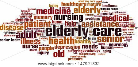 Elderly care word cloud concept. Vector illustration