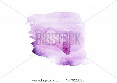 Watercolor aquarelle hand painted purple art paint splatter stain.