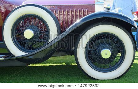 Wire wheels of an old vintage car