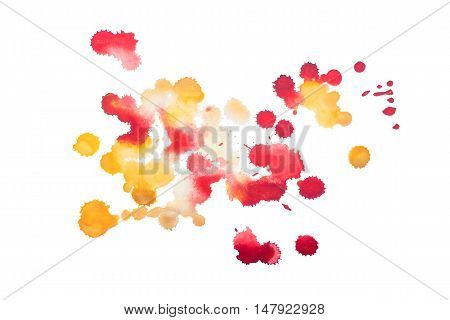 colorful red and yellow retro vintage abstract watercolour aquarelle art hand painted on white background.