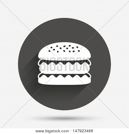 Hamburger icon. Burger food symbol. Cheeseburger sandwich sign. Circle flat button with shadow. Vector