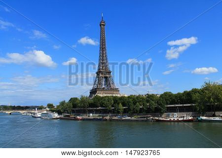 The Eiffel Tower in Paris, capital and the most populous city of France