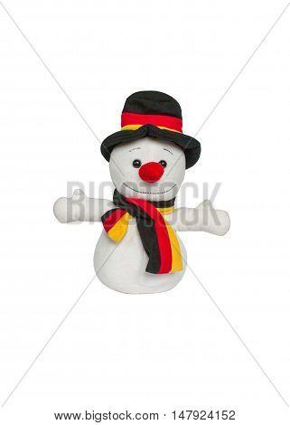 Christmas decoration plush snowman isolated on white background