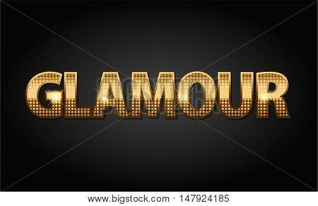 Golden glamour luxury vector word in black background