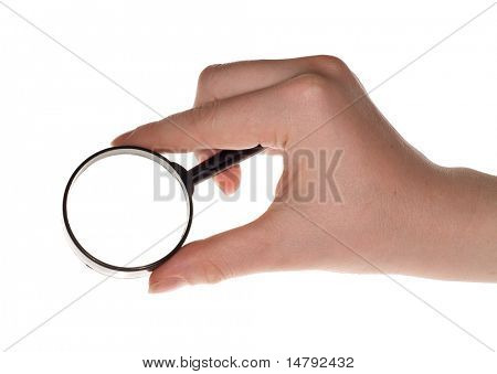 woman hand holding magnifying isolated on white background