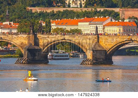 Prague, Czech Republic, September 20, 2011: People Sail In Small Boats On The Vltava River, Prague