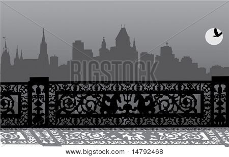 illustration with night city landscape and fence