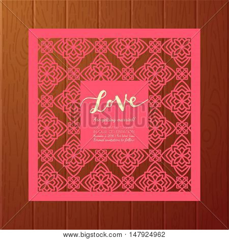Save the date cards. Template for Laser cutting vintage pattern. Wedding invitations bridal shower baby shower birthday bachelorette party party. Floral decorative ornaments. Vector design