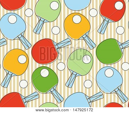 League Table Tennis. The modern style of thin lines. Seamless pattern Ping pong racket.Texture for scrapbooking wrapping paper textiles web page textile wallpapers surface design fashion