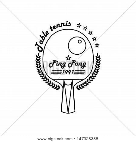 Logo League Table Tennis. The modern style of thin lines. Badge Ping pong racket with a wreath of leaves and the inscription.