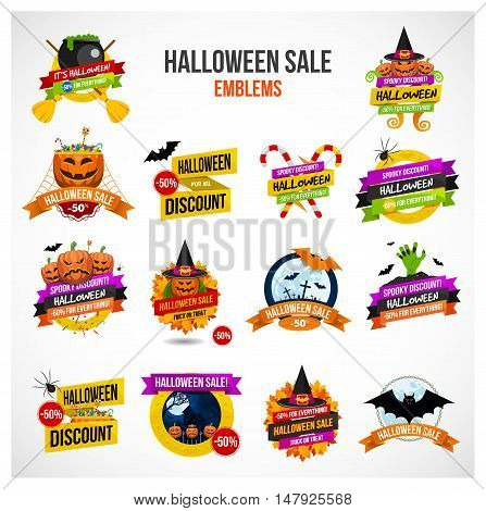 Set of colorful Halloween sale or special discount offer emblems, logos and labels with pumpkins, spiders, bats, zombies, autumn leaves and candies isolated