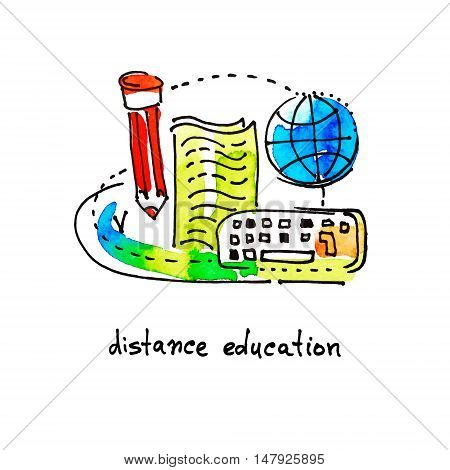sketch watercolor icon design distance education and online learning concept vector illustration