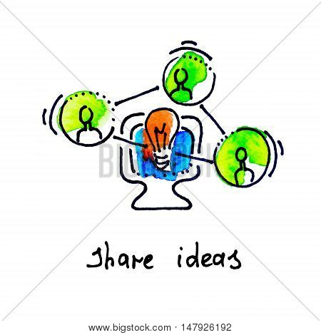 sketch watercolor icon of share ideas, distance education and online learning concept vector illustration