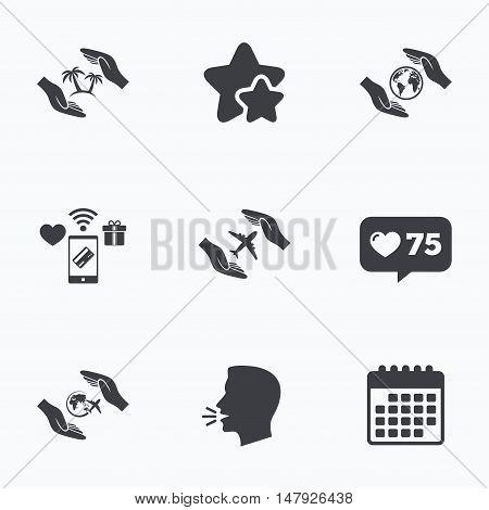 Hands insurance icons. Palm trees symbol. Travel trip flight insurance symbol. World globe sign. Flat talking head, calendar icons. Stars, like counter icons. Vector
