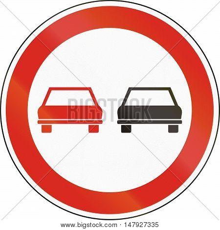 Hungarian Regulatory Road Sign - No Overtaking