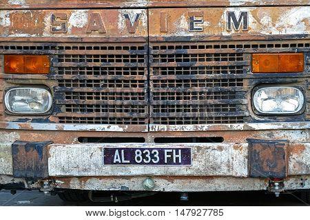 TIMISOARA ROMANIA - JUNE 8 2015: The front of an old bus rusty SAVIEM.