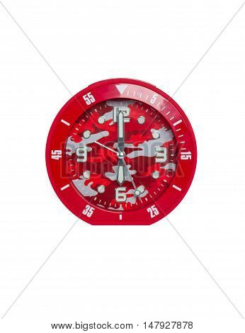Red alarm and clock isolated on white background.