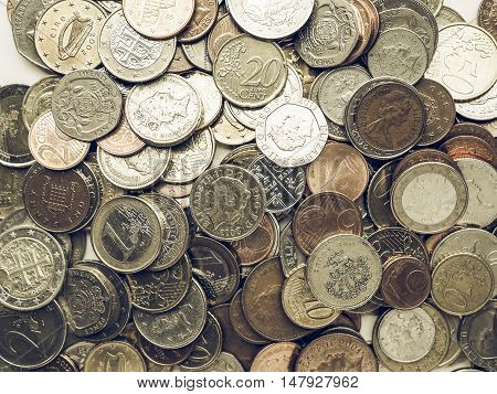 Vintage Euro And Pounds Coins