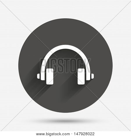 Headphones sign icon. Earphones button. Circle flat button with shadow. Vector