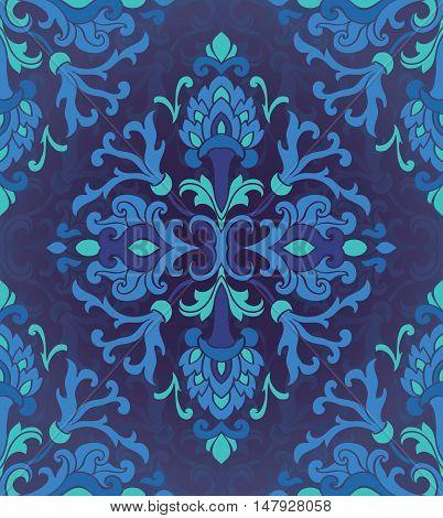 Oriental blue ornament. Template for carpet textile wallpaper. Seamless floral pattern.