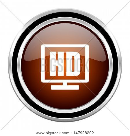 hd display round circle glossy metallic chrome web icon isolated on white background