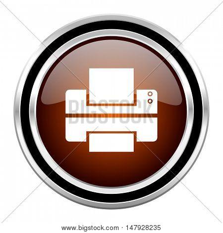 printer round circle glossy metallic chrome web icon isolated on white background