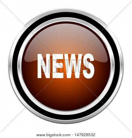 news round circle glossy metallic chrome web icon isolated on white background