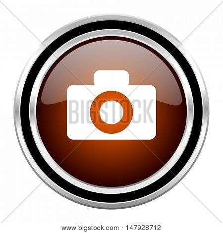 camera round circle glossy metallic chrome web icon isolated on white background