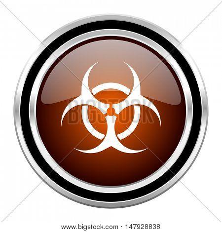 biohazard round circle glossy metallic chrome web icon isolated on white background