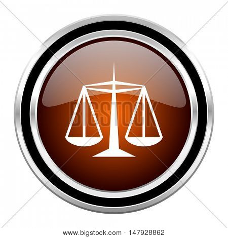 justice round circle glossy metallic chrome web icon isolated on white background