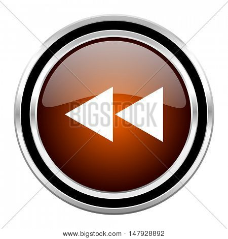 rewind round circle glossy metallic chrome web icon isolated on white background