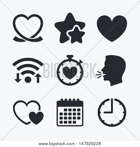 Heart ribbon icon. Timer stopwatch symbol. Love and Heartbeat palpitation signs. Wifi internet, favorite stars, calendar and clock. Talking head. Vector