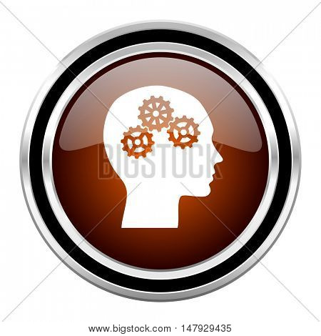 head round circle glossy metallic chrome web icon isolated on white background