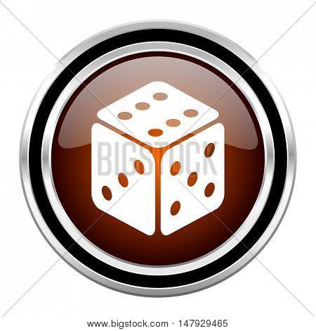 game round circle glossy metallic chrome web icon isolated on white background
