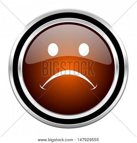 cry round circle glossy metallic chrome web icon isolated on white background