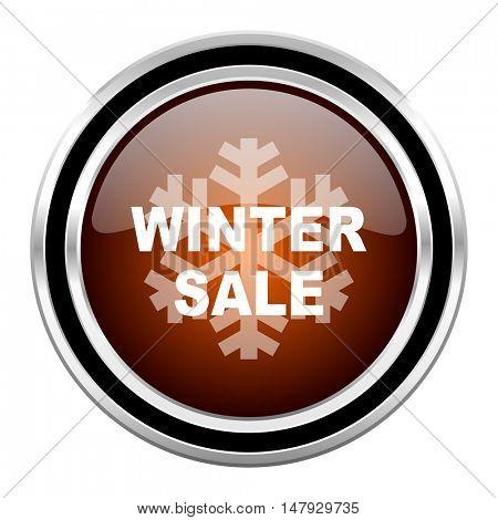winter sale round circle glossy metallic chrome web icon isolated on white background