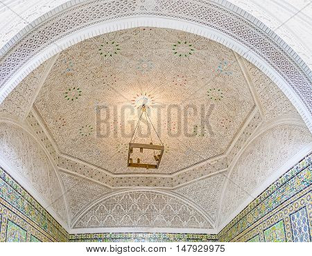 TUNIS TUNISIA - SEPTEMBER 2 2015: The posh arabic interior of Virgil Room decorated with the carved ganch stellar and geometric patterns Bardo National Museum on September 2 in Tunis.