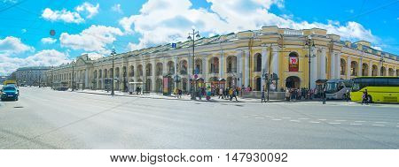 SAINT PETERSBURG RUSSIA - APRIL 25 2015: The building of Great Gostiny Dvor historic vast department store located in Nevsky Prospekt on April 25 in Saint Petersburg.